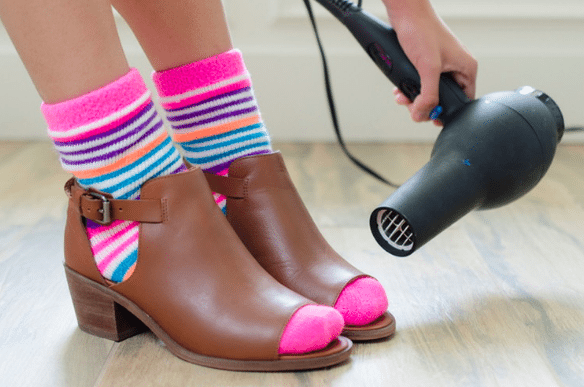 shoes comfortable by using a dryer