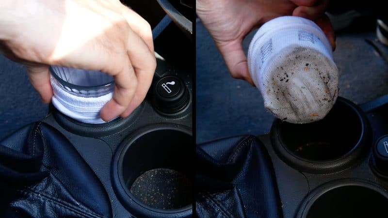 sock in the cup holder and use it to wipe the area clean