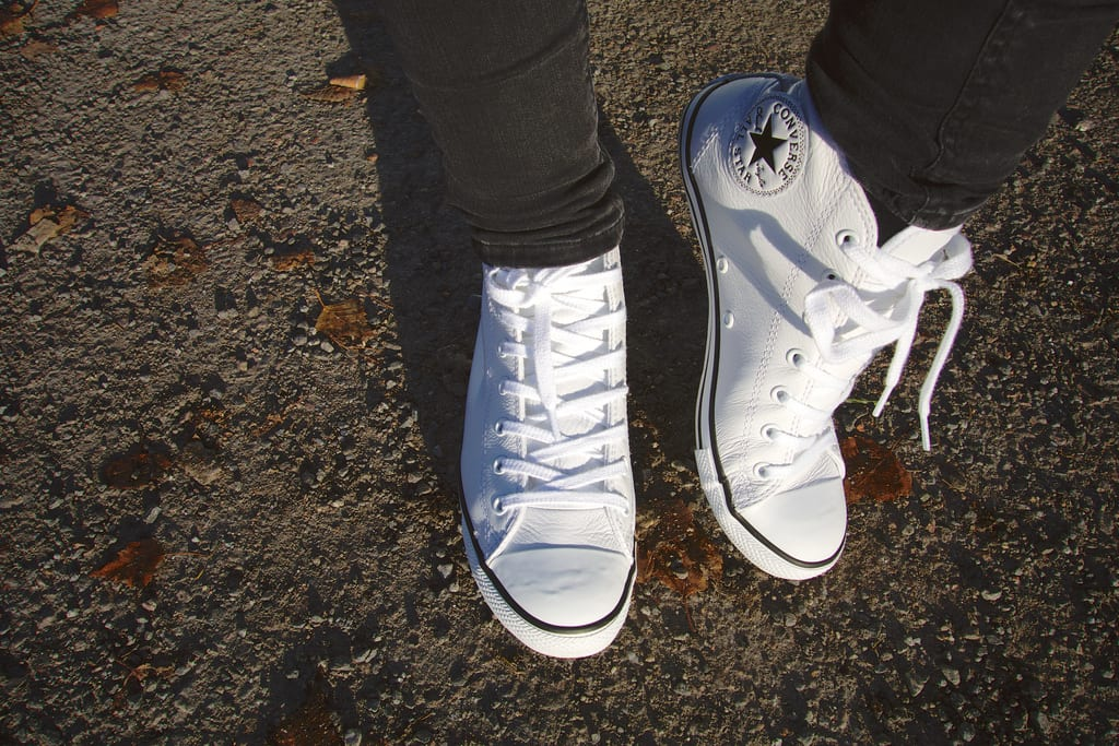 white sneakers with nail polish remover