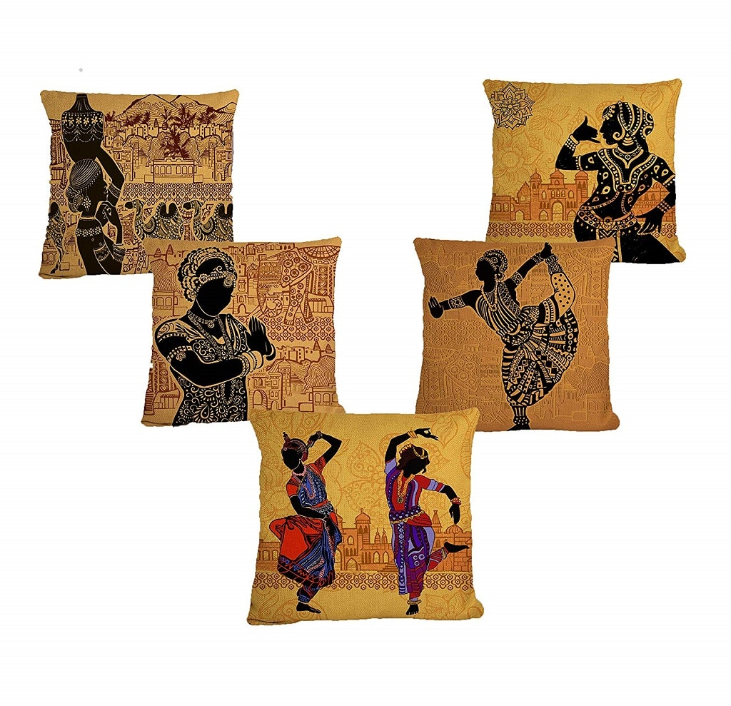 Bharatnatyam Traditional Dance Printed Cushion Cover
