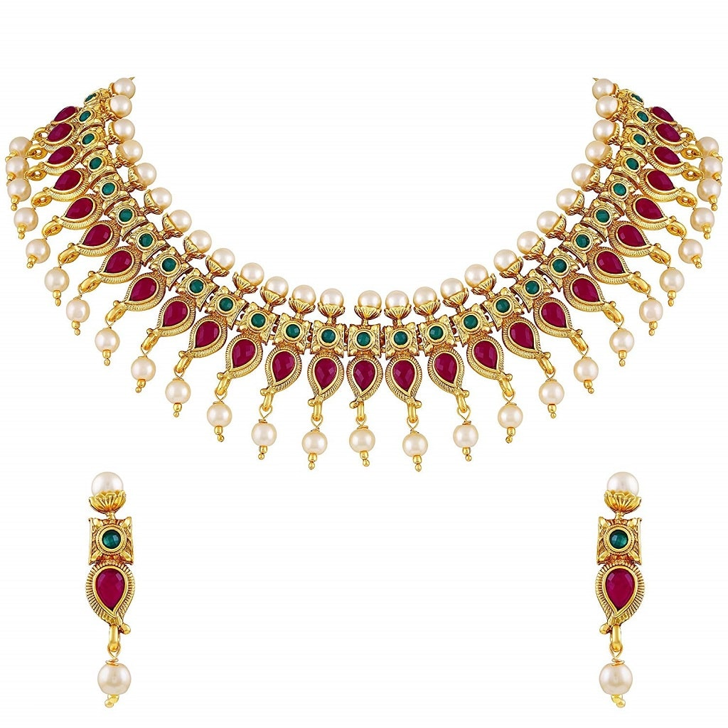 Kuiri Shape Gold plated Choker Style Necklace