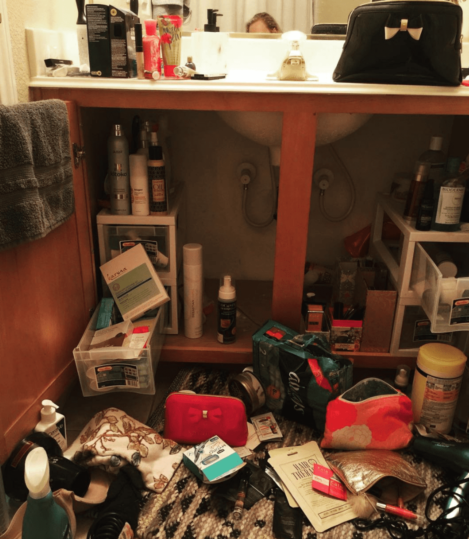 Never store your makeup in a bathroom cabinet