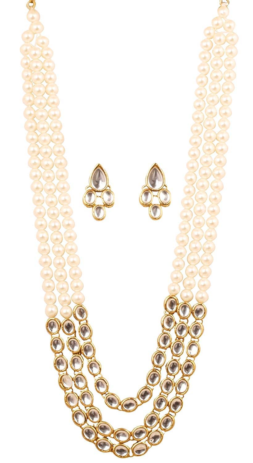 Triple line Faux Pearls Alloy material jewellery