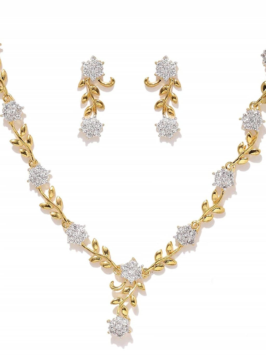 Zaveri Pearl Golden Necklace Set