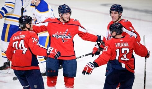 Shorthanded Capitals beat Sabres 4-3 in home opener shootout